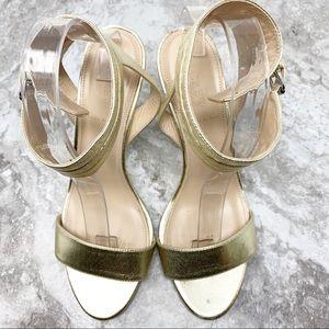 J Crew Ankle Cuff Light Gold High Heel Sandal Sz 9